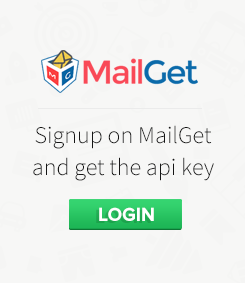 Login into MailGet and get Api key