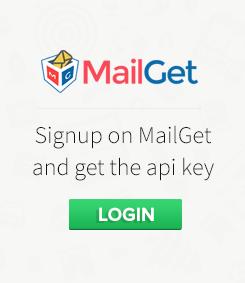 Login into MailGet and get Api key